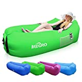 Aufblasbares Sofa IREGRO tragbarer Sitzsack mit integriertem Kissen und integriertem Seitentaschen, wasserdichtes Aufblasbare Couch air Lounger Outdoor Sofa für Camping