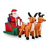 oneConcept X-Mas X-Press • aufblasbarer Weihnachtsmann • Rentiere • Schlitten • Weihnachtsdekoration • Garten- oder Hausdekoration • innen oder aussen • LED • selbstaufblasend • 240 cm • bunt