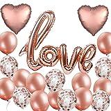 MAKFORT 20 Stück Roségold Luftballon Hochzeit XXL Love Folienballon Rose Gold Folienballon Herz Konfetti Ballons Set für Geburtstag Heiratsantrag Hochzeit Party Valentinstag Dekoration