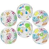 com-four 6X Wasserball, Beachball mit Verschiedenen lustigen Motiven, Ø 27 cm (Ø 27 cm - 06 Stück)