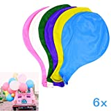 JZK 6 x Durchmesser 90cm, Riese Luftballon Latex riesige Ballon rund gross Dekoration für Hochzeit Geburtstag Taufe Babyparty Kinder Party Festival, rot orange hellgrün rosarot weiß rosa