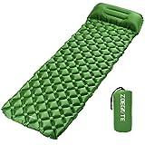 Speedsporting Camping Isomatte Kleines Packmaß - Ultraleichte Isomatte - Aufblasbare Luftmatratze - Schlafmatte fü (Grün mit Kissen)