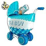 Riesiger 3D Folienballon Kinderwagen Buggy It's A Boy 107cm Blau XXL - Baby Party Geburt Taufe Junge Babyshower Ballon Luftballon Riesenballon