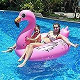 Aufblasbarer Flamingo, Innoo Tech Luftmatratze Wasser, 0.3 mm dick hochwertig PVC schwimminsel, 170x110x115cm XXL Groß mit 5 Reperaturflicken, Schwimmtier für 1 Erwachsen und 1 Kind, Poolparty