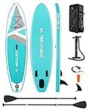 MaxKare SUP Aufblasbares Stand-up-Paddle-Board mit Prämie des Aufblasensurfboards & Bidirektionale Pumpe & Faltbares Paddle & Rucksack Tragbar für Kinder Erwachsene Anfänger Spaß (Mint)