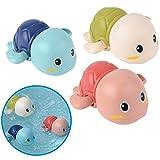 Badewannenspielzeug Schildkröten, 3er Set, auf Schadstoffe und BPA geprüft, Mechanik zum Aufziehen, schwimmen bis 15s, ab 6 Monaten, mit Trocknungsloch, übt Feinmotorik und Greifkraft, Badespielzeug