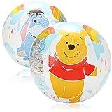 com-four 2X Wasserball aufblasbar - Strandball wasserabweisend - Beachball mit Motiven von den Disney-Figuren Winnie Puuh, Tigger und I-Aah - Ø 50 cm