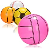 com-four® 4X Wasserball aufblasbar - Strandball wasserabweisend - Beachball im Design von Fußball, Volleyball, Baseball, Basketball [Auswahl variiert]