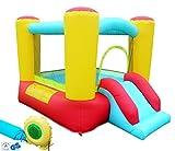 Hüpfburg Kinder klein Mini Indoor Outdoor mit Gebläse und Rutsche Mini Jumper House Spielhaus Ritterburg Draußen Kinder-Party Spring-Schloss (200x150x141cm)