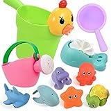 GOLDGE 10Pcs Badewannenspielzeug für Baby ab 1 Jahre, Badespielzeug Wasserspielzeug Baby mit BPA-frei Nettes Wasserspritztiere für Baby Badewanne Geschenk