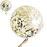 4 Gold Konfetti Ballons XXL Riesige Transparente Luftballon mit Metallischem Gold Konfetti Deko Party Feier Dekoration für Geburtstag, Geburtstagsdeko und Neujahr