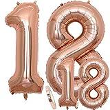 Luftballons Zahl 18 Geburtstag XXL Rose Gold - Riesen Folienballon in 2 Größen 40' & 16' | Set XXL 100cm + Mini 40cm Version Geburtstagsdeko | Insgesamt Vier Zahlen | Ideal zum 18. als Deko