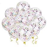 outgeek Konfetti Luftballons, 20 Stück Sterne Konfetti Ballons Latex Ballons Konfetti Gefüllte Luftballons Geburtstag Konfetti für Party Graduation Hochzeit Geburtstags Dekoration