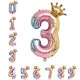 40 Zoll 0 - 9 XXL Regenbogen Zahlen Folien Luftballon, 100 cm Riesenzahl 3 Jahr Geburtstagsdeko Ballon, Luftballon Rosa Ballons für Junge Mädchen Geburtstag, Hochzeit, Jubiläum Party Dekoration