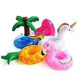 DMAR® 5 STÜCKE Mini Aufblasbare getränkehalter Flamingo Einhorn Pool Float Spielzeug Float Cup Halter Schwimmen Party Spielzeug Strand Kinder Erwachsene