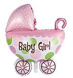 Folienballon'Babyparty Junge oder Mädchen' Rosa zum Befüllen mit Gas oder Luft Kinderwagen Baby Teddy XXL Luftballon Deko Taufdeko Geburtstagsdeko Geburt Geschenk Deko Kinderzimmer (Kinderwagen Rosa)