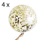 4 Gold Konfetti Ballons XXL Riesige Transparente Luftballon mit Metallischem Gold Konfetti, Party Dekoration für Geburtstag Geburtstagsdeko und Neujahr