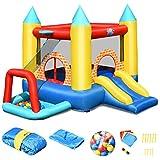 COSTWAY Hüpfburg aufblasbar, Springburg mit 30 Bälle, Hüpfschloss mit Rutsche, Spielburg für Kinder (300x280x210cm)