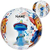 alles-meine.de GmbH 3D Effekt _ Strandball / Ball - aufblasbar - Paw Patrol - Hunde - incl. Name - Ø 40 cm - Wasserball - durchsichtig & transparent/ Beachball - Kinder - Baby - ..