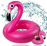 TK Gruppe Timo Klingler Flamingoring ca. 110 cm Schwimmring Flamingo aufblasbar Pool & Wasser mit Getränkehalter für Erwachsene & Kinder