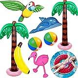 Yetech Aufblasbare Palmen Baum Strand Spielzeug Set, 9PCS Aufblasbare Palmen Flamingo Spielzeug,90 cm Wassermelone Aufblasbarer Schwimmring,Fliegen Papagei Delphin ,Hawaii Party Deko Beach Backdrop
