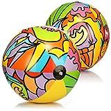 com-four® 2X Wasserball aufblasbar - Strandball mit sommerlichen Motiven - riesen Wasserball für Strand und Pool - Badespielzeug