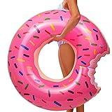 YIJIAOYUN Schwimmreifen Aufblasbar, angebissener pink Donut mit Biss Schwimmring Schwimmreif Luftmatratze Schwimmkissen für Pool, für Cocktails, Getränke UVM