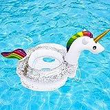 J TOHLO Aufblasbarer Pool Float Schwimmring mit Glitzer, Sommer Pool Toy Party Dekorationen für Kinder, Pool Tubes Schwimmspielzeug für Strand, Party, Urlaub - Einhorn