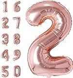 #discoverhome Rosa Folienluftballons XXL für Geburtstage - Zahlenluftballons Nummer 2 - [80cm] (2)