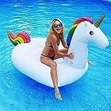 Dracarys Aufblasbar Einhorn Luftmatratze - Riesiger Aufblasbarer Einhorn Schwimmtier Pool Spielzeug Floß Schwebebett Wasserspielzeug Party Kinder Erwachsene