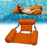 Aufblasbare Wasser Hängematte Klappbarer Pool Float Lounge Chair Sitz Mit Rückenlehne Schwimmstuhl Pool Float Lounge Wasserstuhl Wasser Hängematte 4-in-1 für Erwachsene und Kinder-Orange