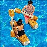 LONEEDY 2 Stück gesetzte aufblasbare Schwimm Reihe Spielwaren, Erwachsene Kinder-Pool-Party Wassersportspiele Lügen Flöße Float Spielzeug (Gelb)
