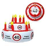 Aufblasbare Geburtstagstorte '40', kann auch als Hut genutzt werden