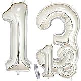 zooting Luftballons Zahl 13 Geburtstag XXL Silber - Riesen Folienballon Figuren in 2 Größen 40' & 16' | Set XXL 100cm + Mini 40cm Version Geburtstagsdeko | Vier Zahlen | Ideal zum 13. als Deko