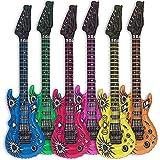 GOODS+GADGETS 6X Luftgitarre Rockstar aufblasbare Air-Guitar Luft-Gitarren aufblasbar 100cm bunt