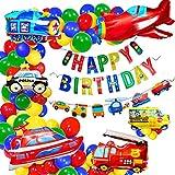 Alintor Kindergeburtstag Deko, Geburtstagsdeko Junge Happy Birthday Banner, Flugzeug Zug Polizeiauto Schulbus Yacht Feuerwehrauto Folienballon, Baby Junge Party Geburtstagdeko für 1-10 Jahre Jungen